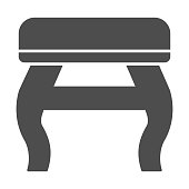 istock Retro stool solid icon, Furniture concept, retro pouf with legs sign on white background, Wooden chair stool icon in glyph style for mobile concept and web design. Vector graphics. 1282772141