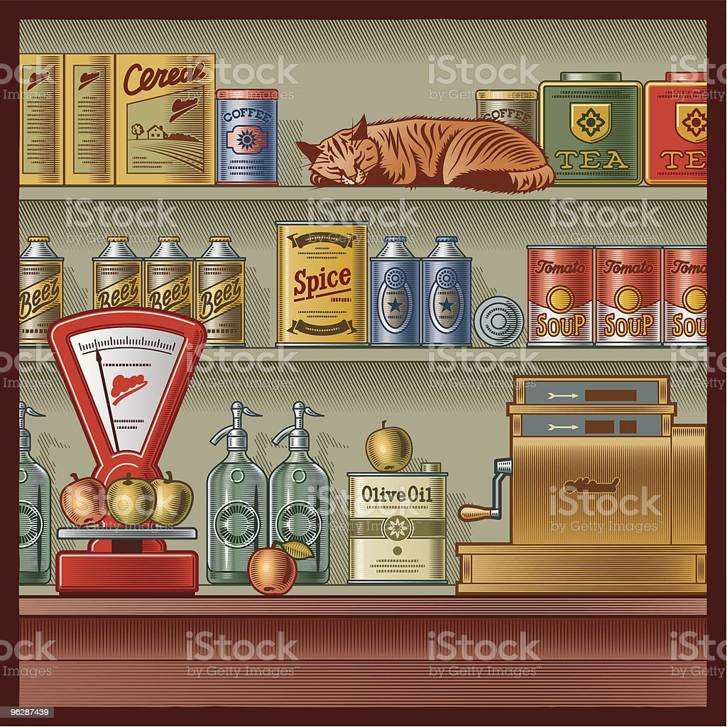 Retro store vector art illustration