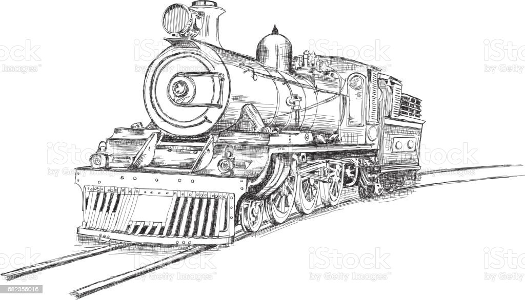 Retro Stream Locomotive Train Railway Engine Vector Illustration royaltyfri retro stream locomotive train railway engine vector illustration-vektorgrafik och fler bilder på antik