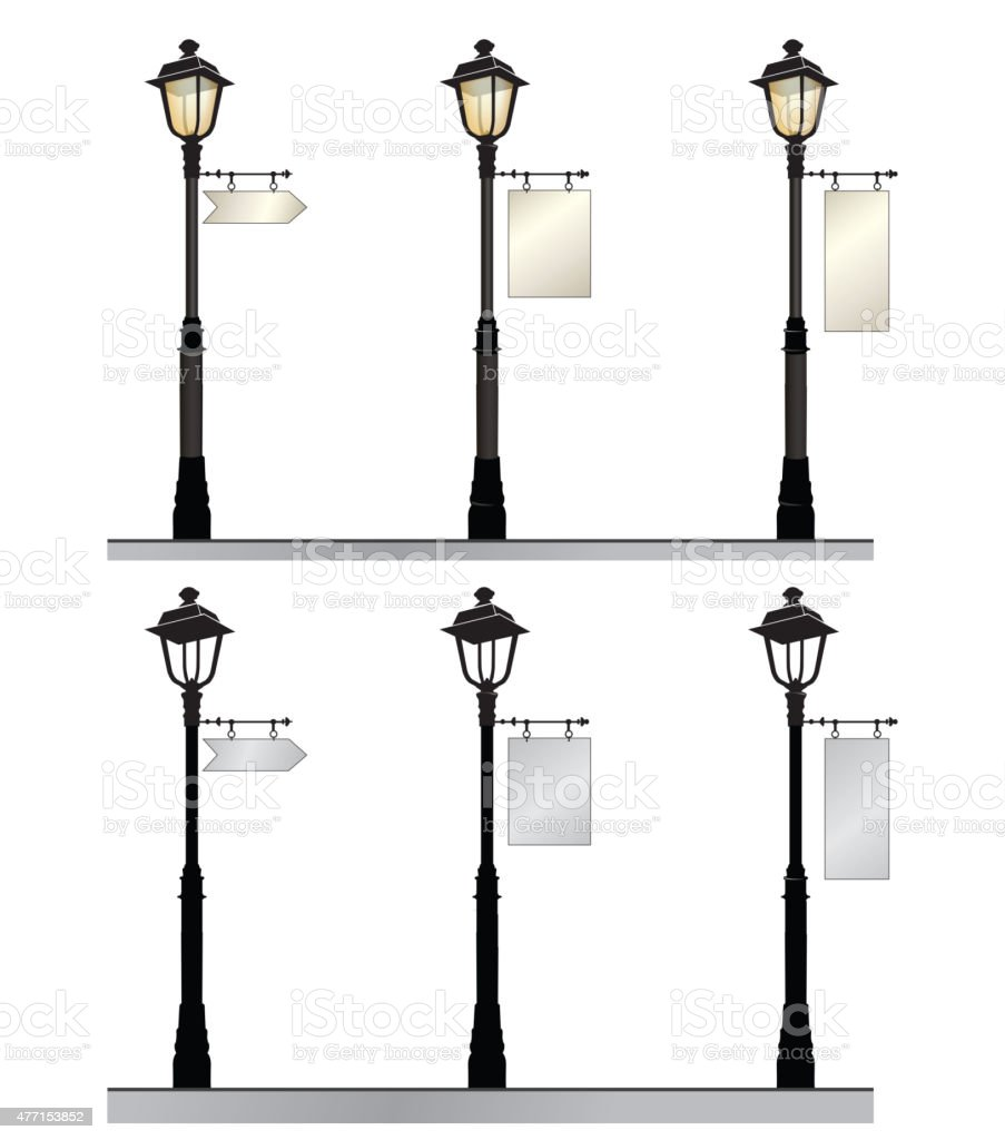 Retro street lights with arrow place. vector art illustration
