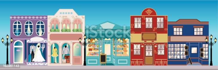 Vector illustration of the detailed Retro Street Shops in different architectural styles, type and colours. Shop included bridal shop, clothing shop, bakery, cafe and restaurant. Each shop is individually grouped and can be separated easily.