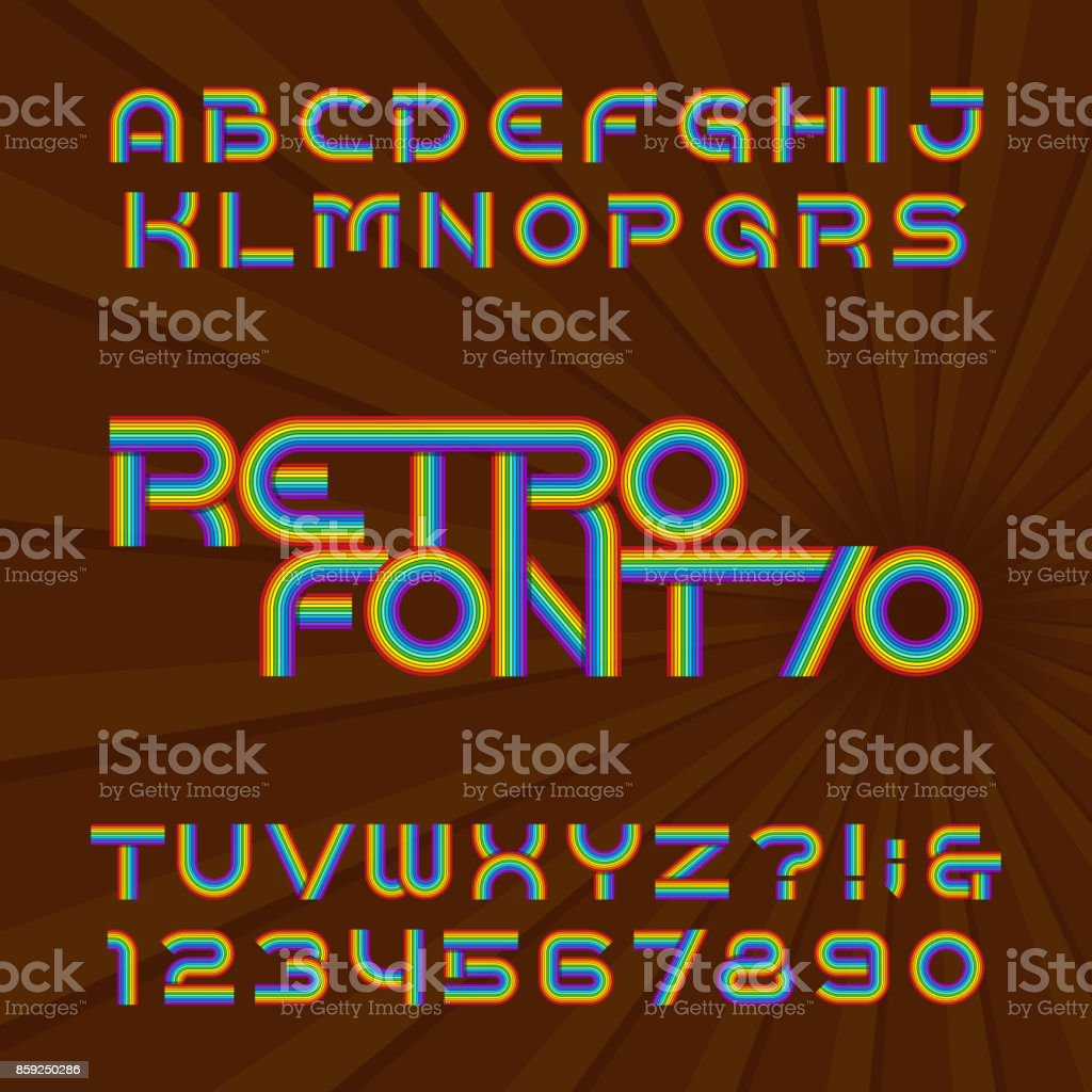Retro stripe alphabet font. Letters and numbers in 70's style. vector art illustration