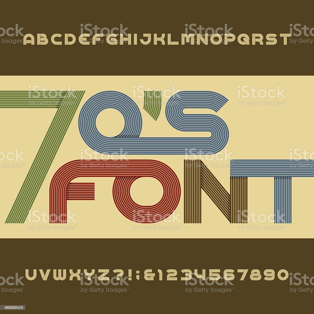 Retro stripe alphabet vector font in 70's style. - ilustração de arte em vetor