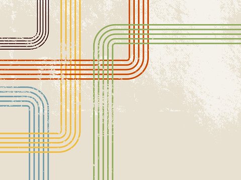 Retro stripes - abstract beige vintage background pattern with colorful pastel lines in 60s 70s style
