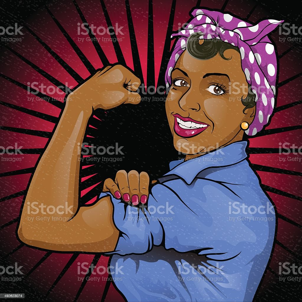 Retro Strong Powerful Asian Woman Sign. vector art illustration