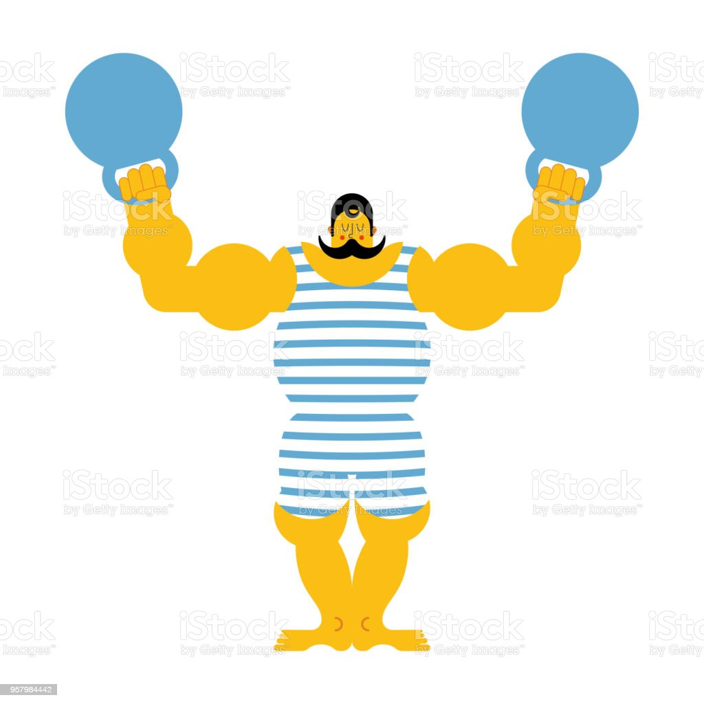 Retro strongman and weight. Vintage Sportsman. Circus bodybuilder. man of musls in poloat clothes. Vector illustration vector art illustration