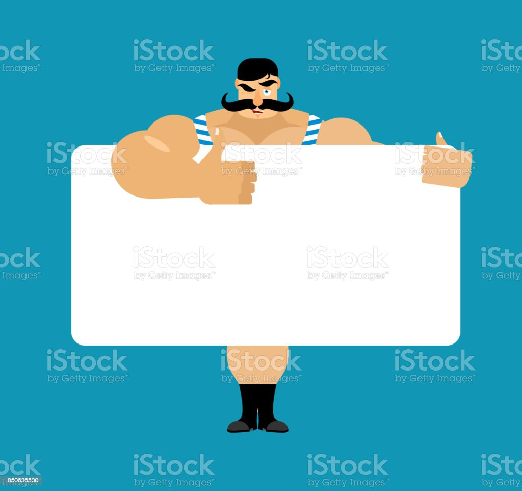 Retro strongman holding banner blank. Vintage athlete and white blank. big guy joyful emotion. ancient bodybuilder and place for text. Vector illustration vector art illustration