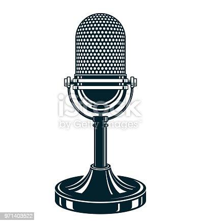1056306726istockphoto Retro studio microphone vector illustration. Stand up live show concept, public relations. 971403522