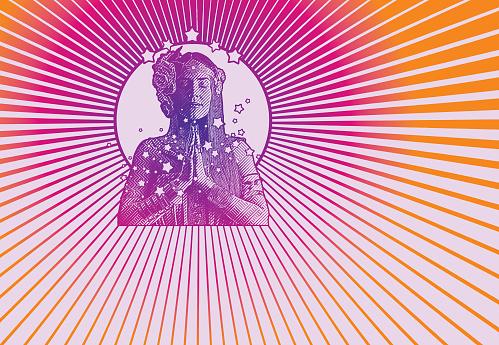Retro style 1960's hippie meditating
