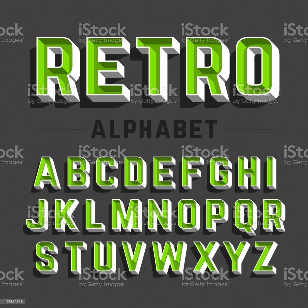 Estilo retrô alfabeto - ilustração de arte em vetor