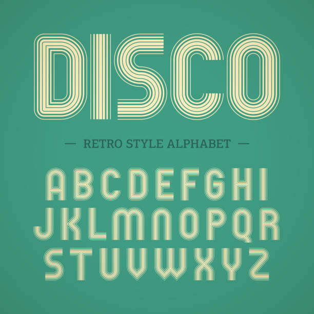 Retro style alphabet Vector illustration with transparent effect. Eps10. condition stock illustrations