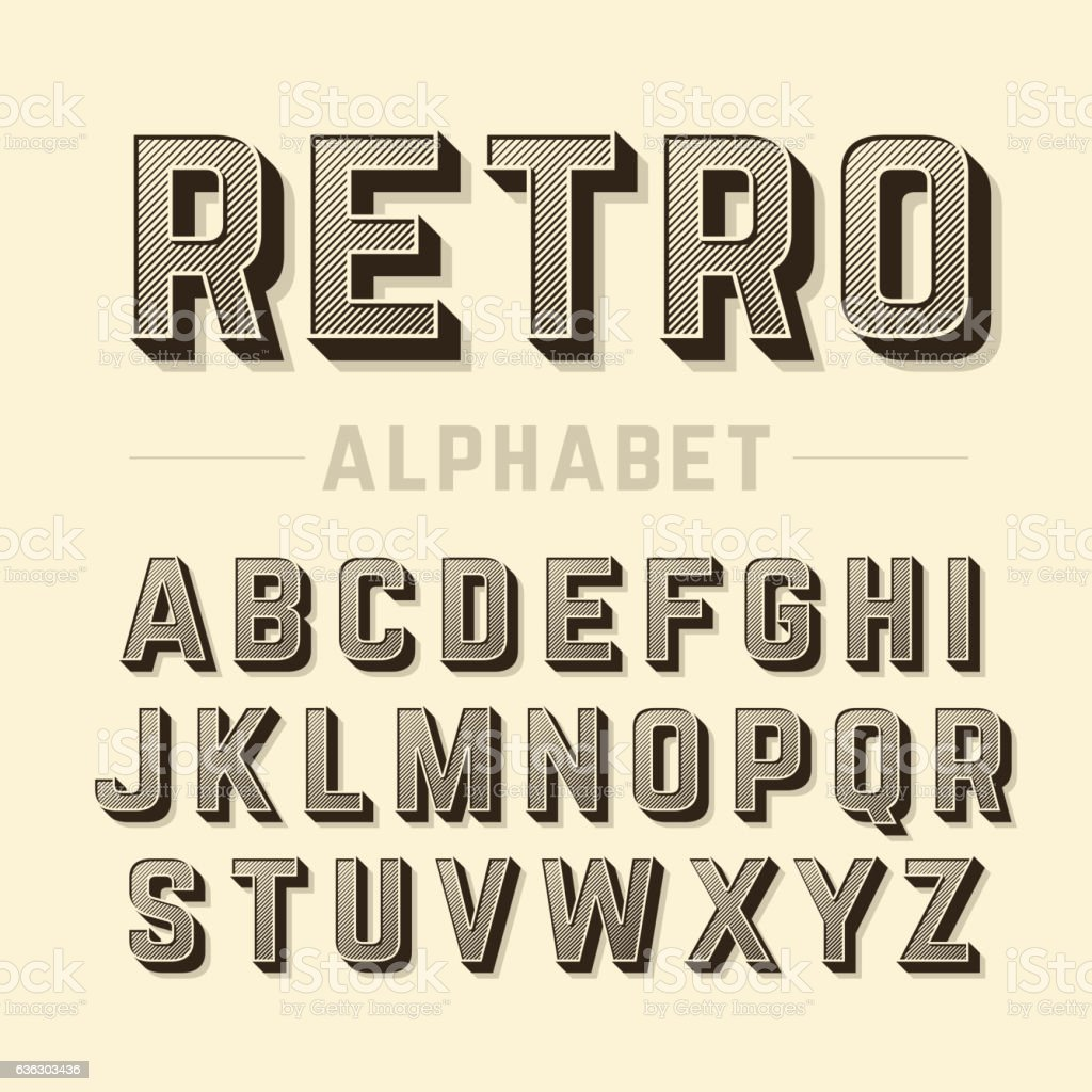 Retro style alphabet vector art illustration