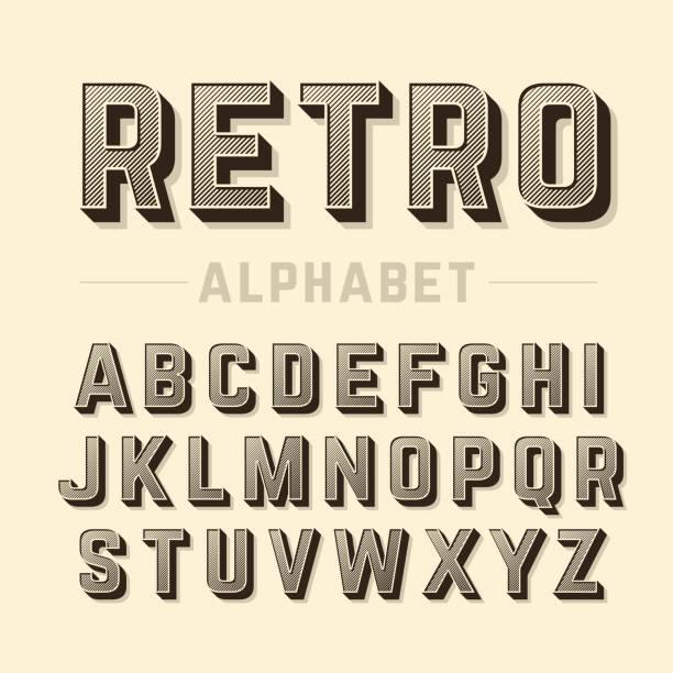 retro style alphabet - retro fonts stock illustrations, clip art, cartoons, & icons