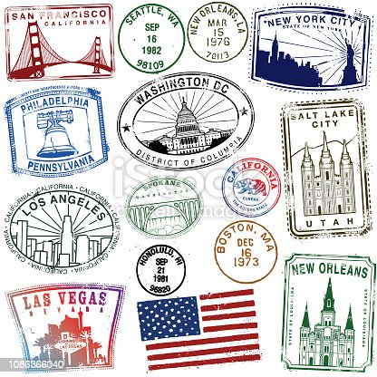 Retro Style American Stamps