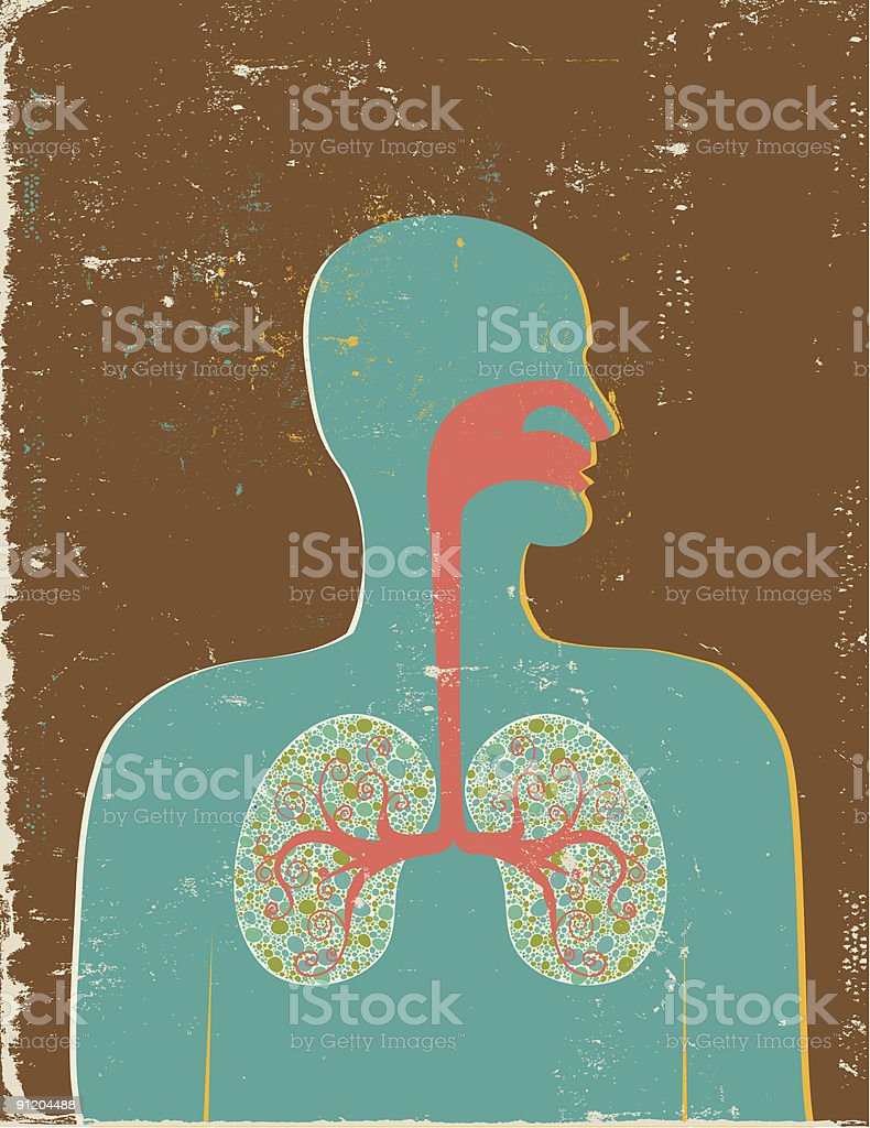 Retro style anatomical profile of a human breathing vector art illustration