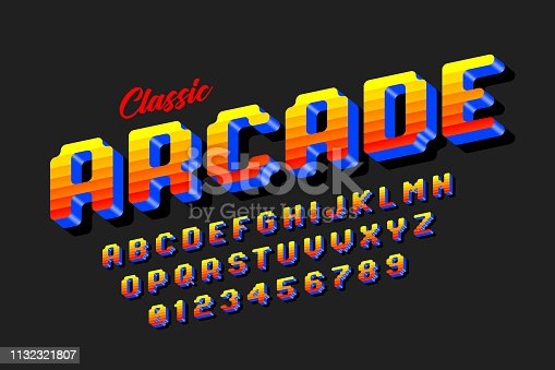 Retro style arcade games font, 80s video game alphabet letters and numbers vector illustration