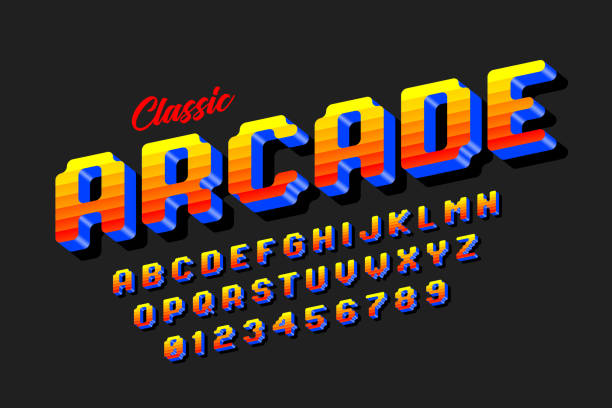 Retro style arcade games font Retro style arcade games font, 80s video game alphabet letters and numbers vector illustration video game stock illustrations