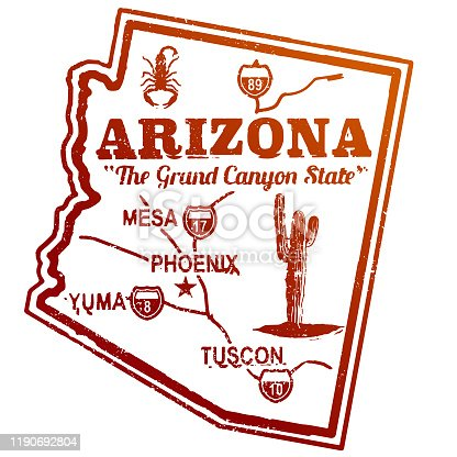 Vintage Arizona Travel Stamp