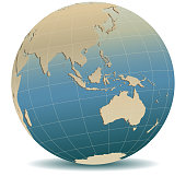 Retro Style Asia and Australia, Global World, Elements of this image furnished by NASA