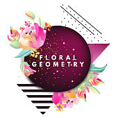 Modern, retro style, geometric, pop, banner, brochure, advertisement, flyer. Geometric figures, beautiful abstract flowers and figures zebra lines, dots and burgundy circle frame with gold glitter