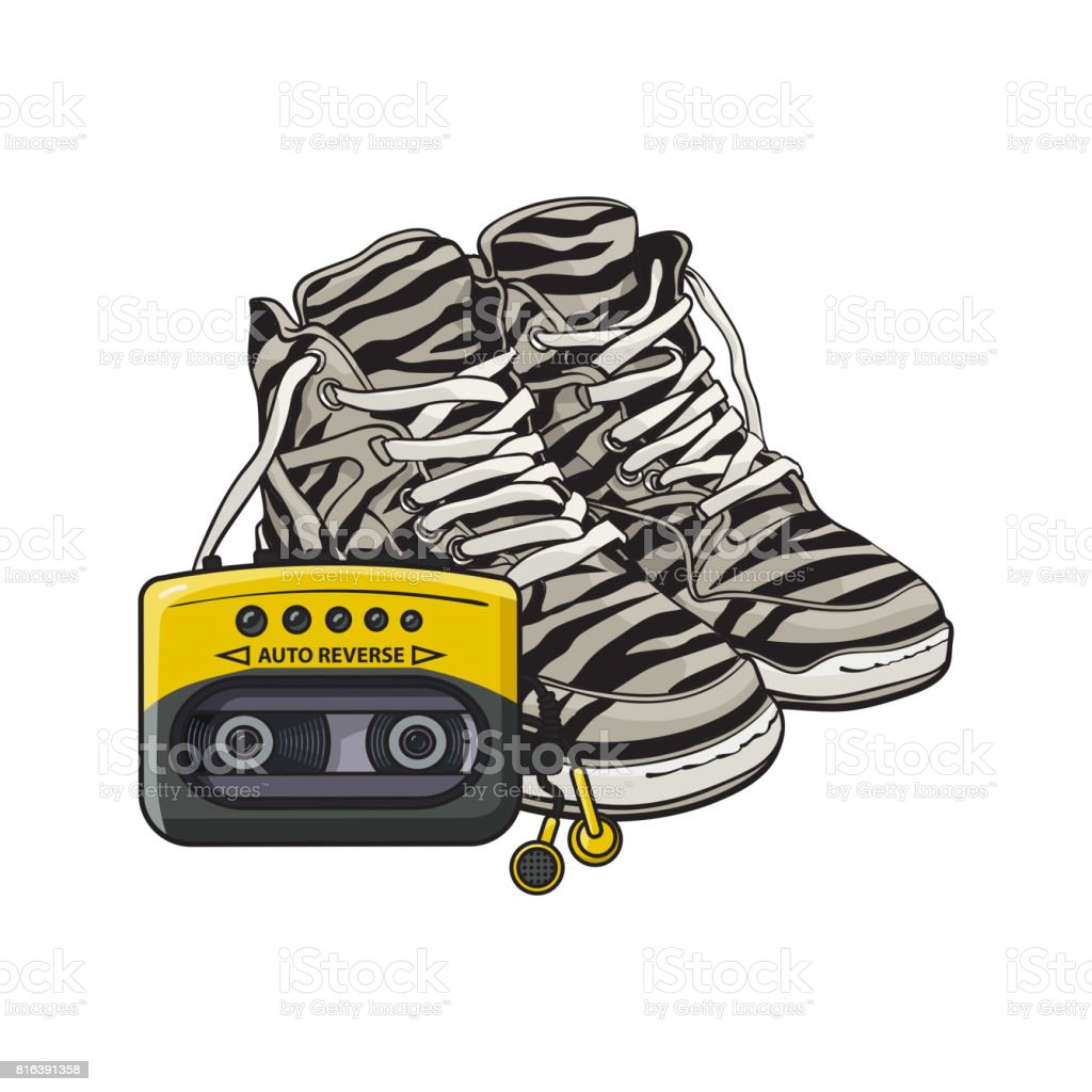 Pair of zebra sneakers and audio player from 90s, retro fashion...