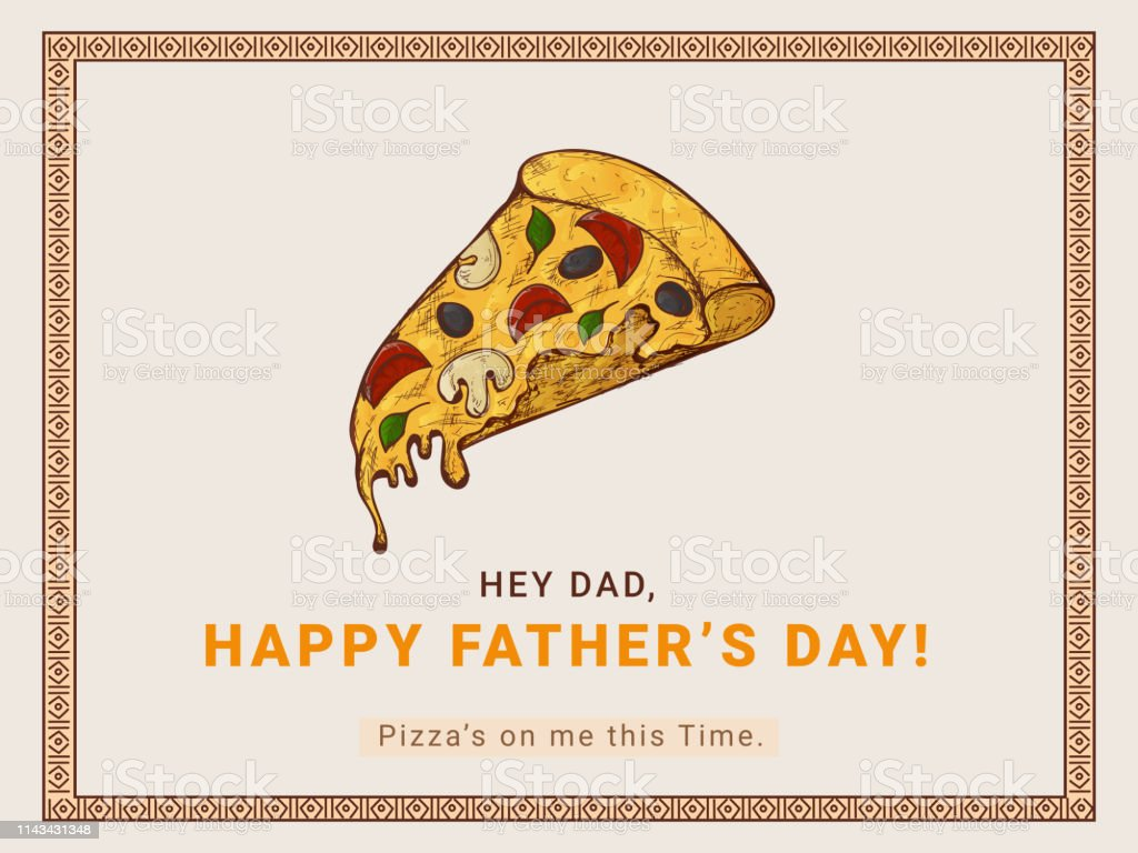 Retro Style Banner Or Poster Design With Pizza Slice For Happy Fathers Day Party Celebration Concept Stock Illustration Download Image Now Istock