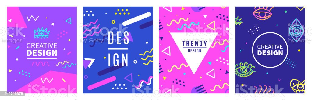 Retro style banner templates collection. 80-90s trendy fashion background vector art illustration