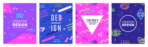 Retro style banner templates collection. 80-90s trendy fashion background Retro style banner templates collection. 80-90s trendy fashion background with geometric shapes. Vector illustration. Poster, invitation, greeting card, cover design. funky stock illustrations