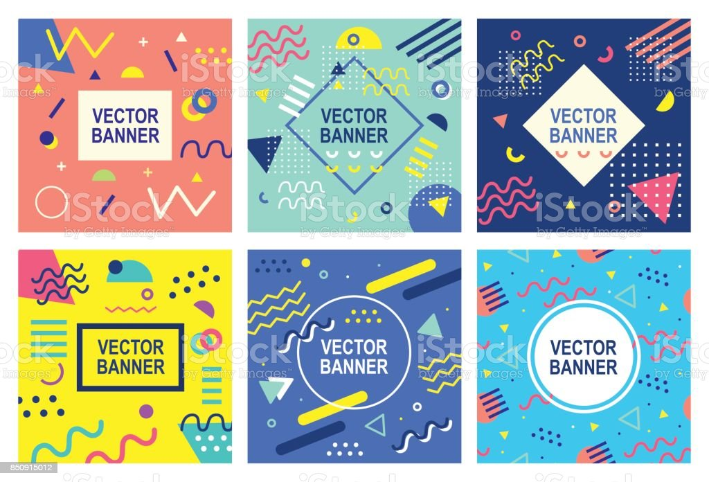 Retro stijl banner templates-collectie - Royalty-free 1980-1989 vectorkunst