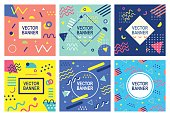 Retro style banner templates collection. 80-90s trendy fashion background with geometric shapes. Vector illustration. Poster, invitation, greeting card, cover design.