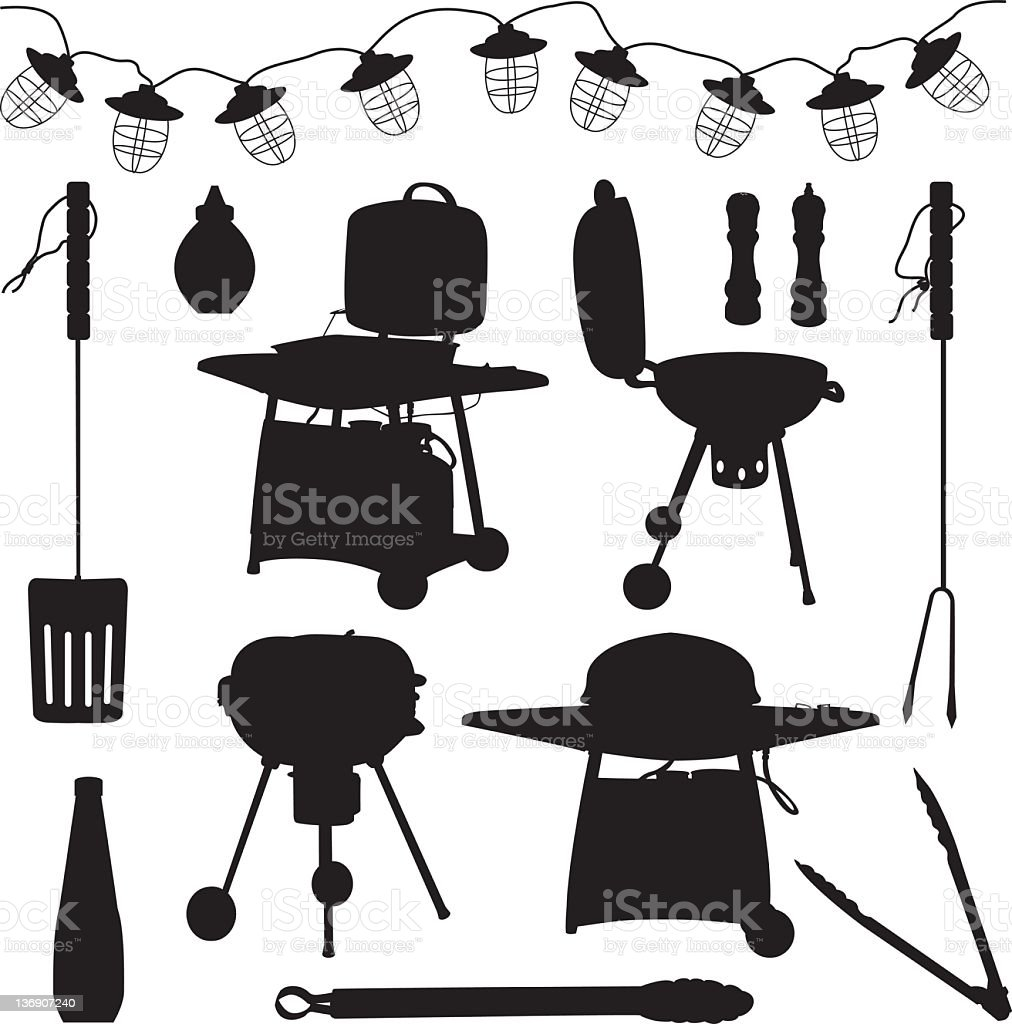 Retro Style Barbecues,condiments and accessories black silhouette vector art illustration