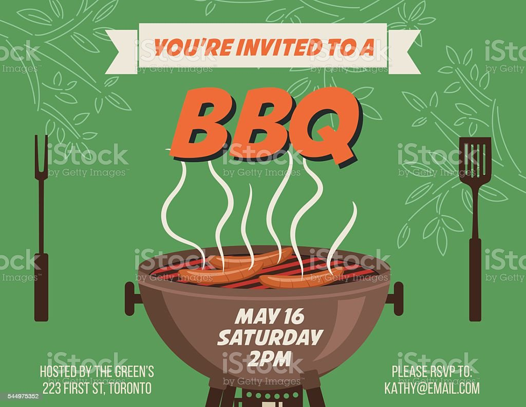 Retro Style Bbq Party Invitation Template stock vector art ...