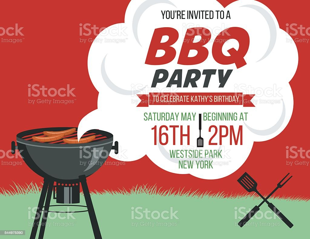 retro style bbq party invitation template stock vector art more