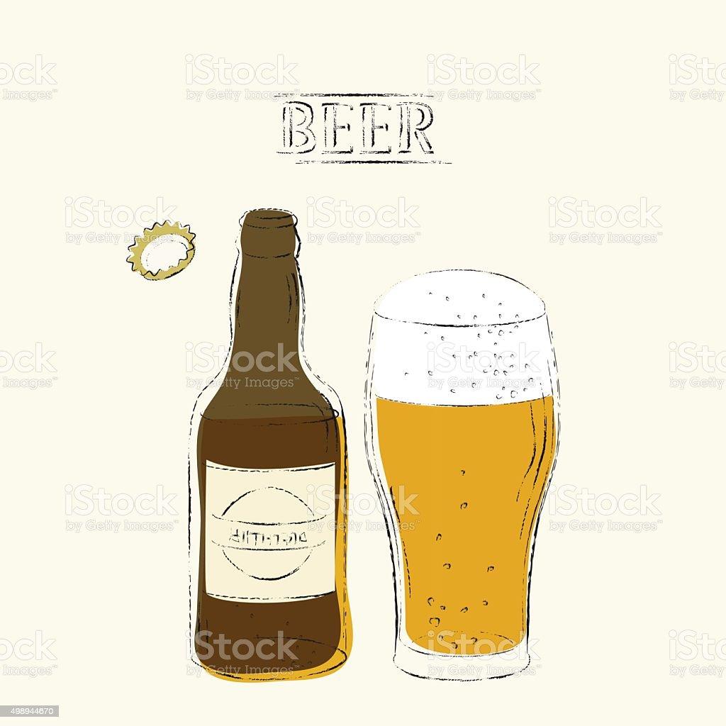 Retro Bierillustration Mit Offenen Flasche Glas Bier Stock Vektor ...