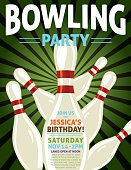 "Bowling Birthday Party invite. There is a bowling pin in front with others falling behind it. There is text at the top saying ""Bowling Party"" and room for party information below on the pin. Would also work great for a bowling tournament poster."