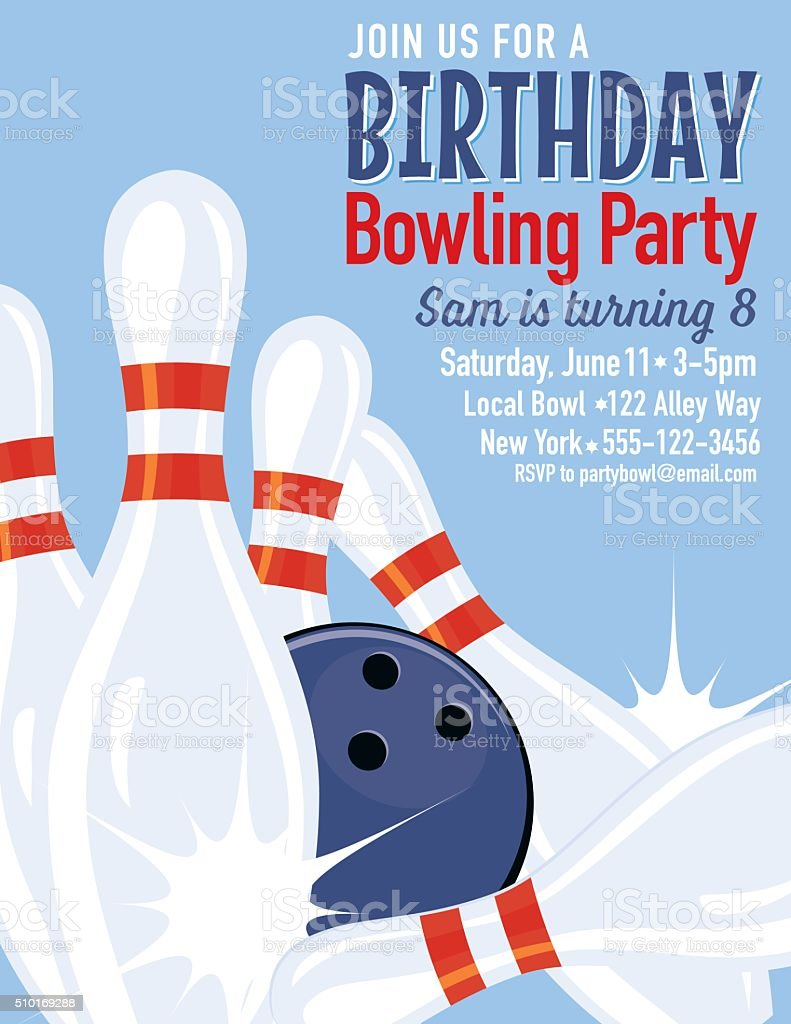 Retro Style Bowling Birthday Party Invitation Template Stock Illustration -  Download Image Now