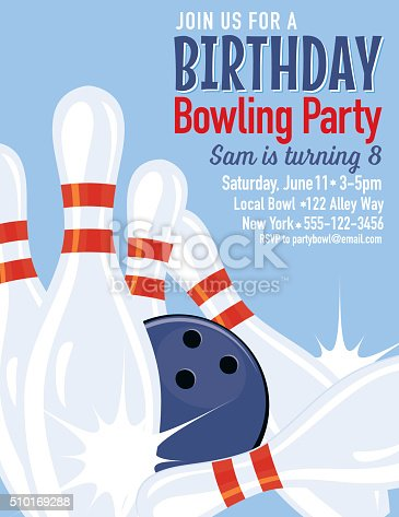 istock Retro Style Bowling Birthday Party Invitation Template 510169288