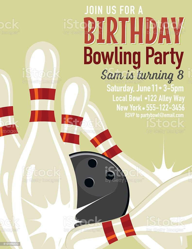 Bowling Invitation Template | Retro Style Bowling Birthday Party Invitation Template Stock Vector