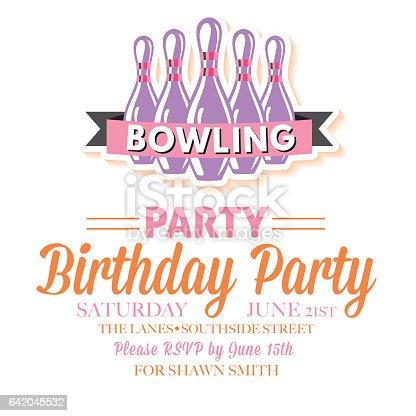 レトロなスタイルのボウリングの誕生日パーティの招待状テンプレート
