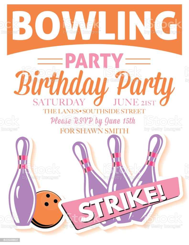 Retro Style Bowling Birthday Party Invitation Template Stock Vector ...