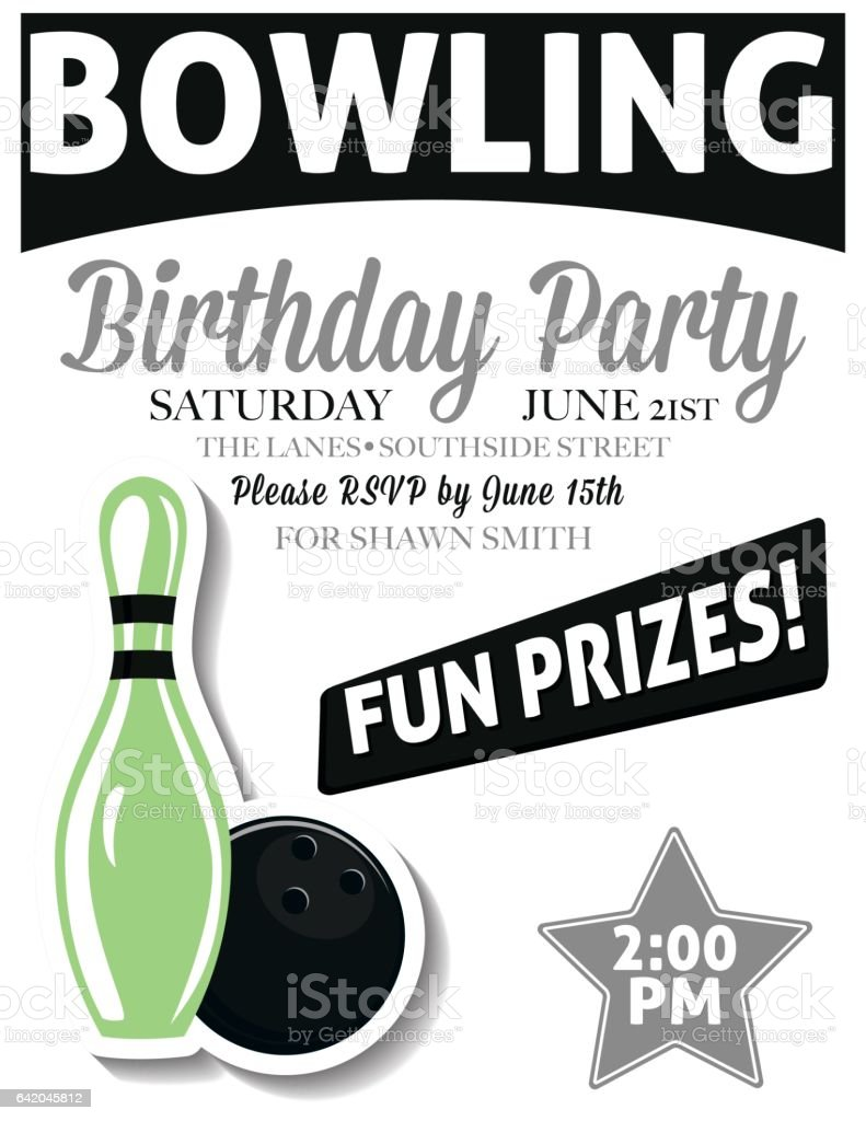 Retro Style Bowling Birthday Party Invitation Template Stock - Bowling birthday party invitations free templates