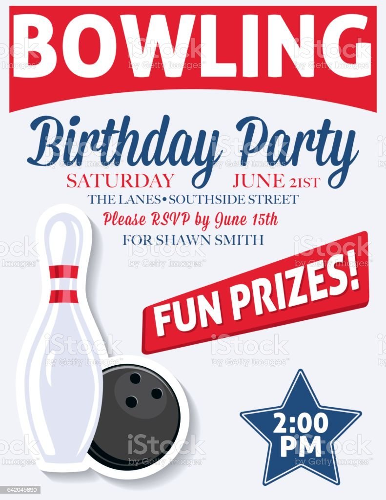 retro style bowling birthday party invitation template royalty free retro style bowling birthday party invitation