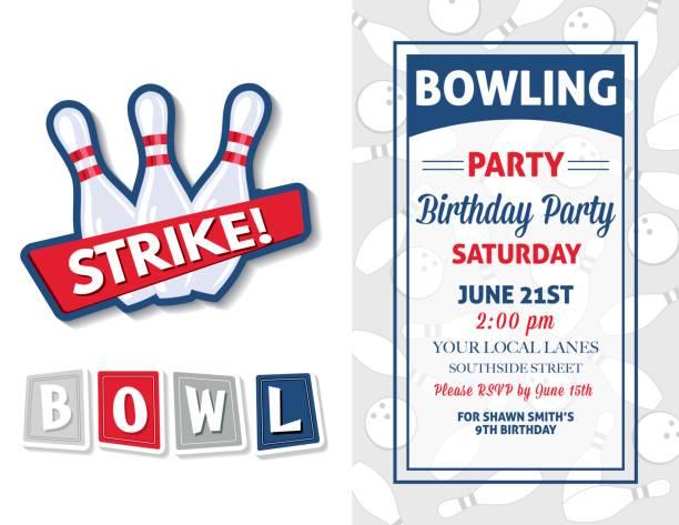 Retro Style Bowling Birthday Party Invitation Template vector art illustration
