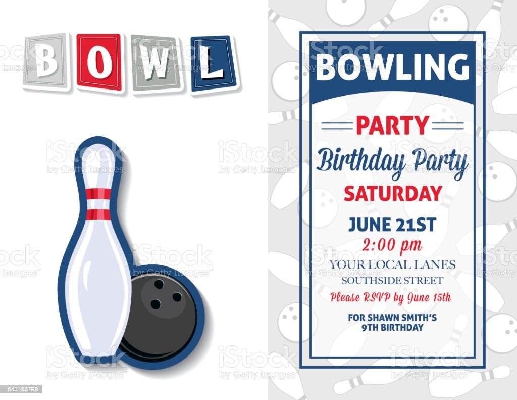 This is a graphic of Free Printable Bowling Birthday Party Invitations inside medical