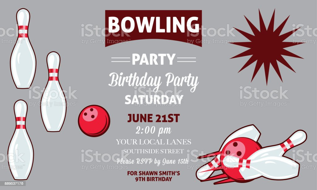 retro style bowling birthday party invitation template stock vector