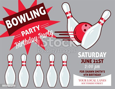 Retro Style Bowling Birthday Party Invitation Template. Bowling elements in retro style with room for text.