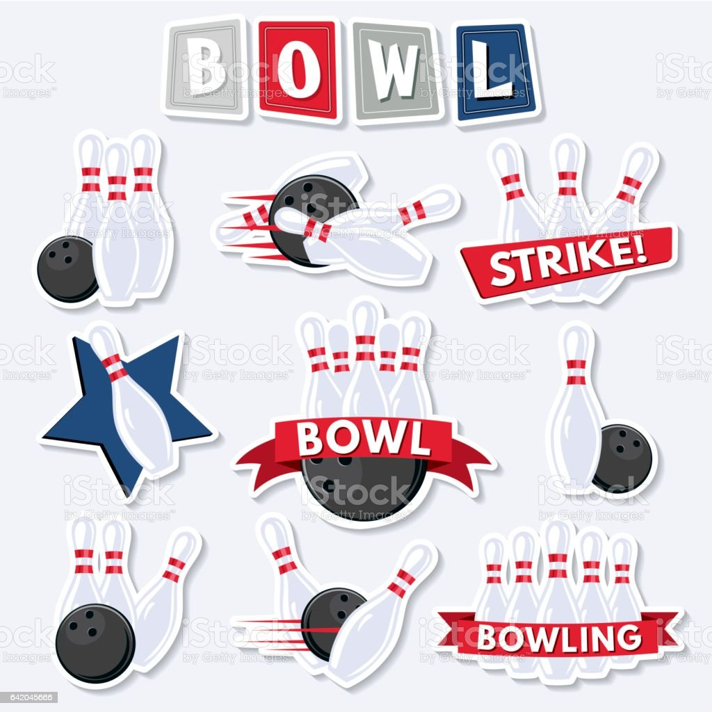 Retro Style Bowling Elements vector art illustration
