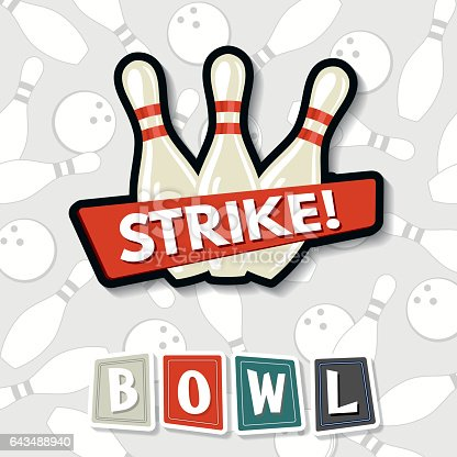 Retro Style Bowling Birthday Elements. Includes balls and pins, ribbons, banners and the word BOWL in retro styling.