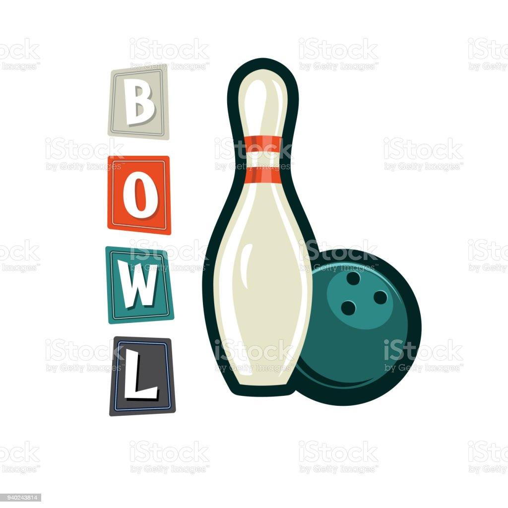 Retro Style Bowling Elements vector art illustration
