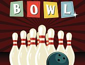 Retro Style Bowling Poster. It has a dark red starburst background. The bowling pins are set up with a ball in front of them. The word BOWL is across the top on retro sign shapes.